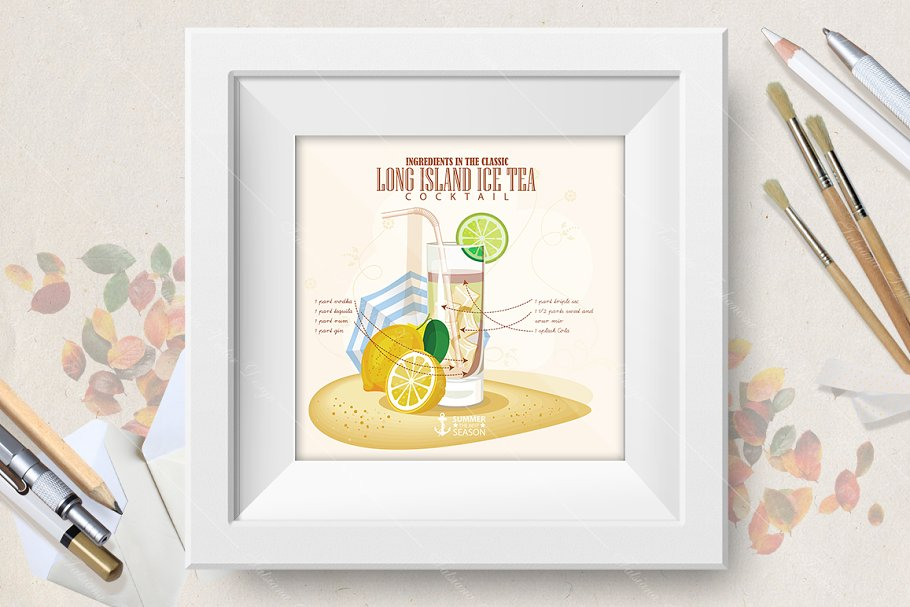 Cocktail Long Island Ice Tea in Illustrations - product preview 8