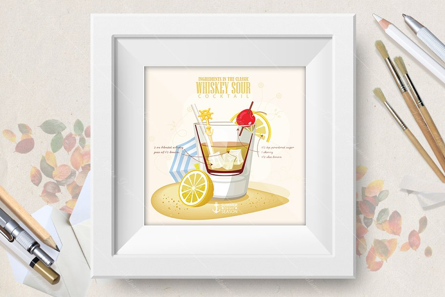 Cocktail Whiskey Sour poster in Illustrations - product preview 8