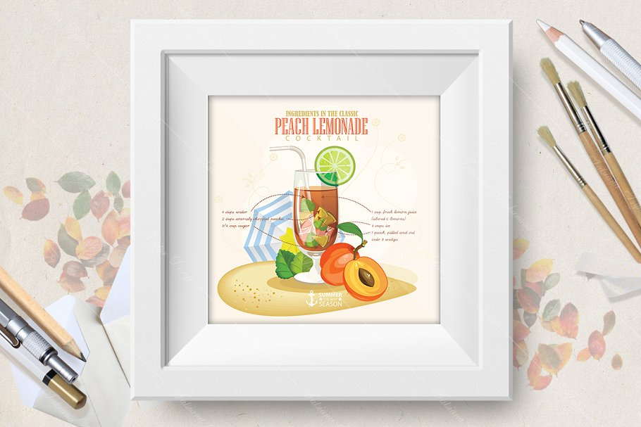 Cocktail Peach Lemonade poster in Illustrations - product preview 8