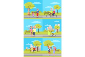 Set of Vector Posters with Grandparents and Kids