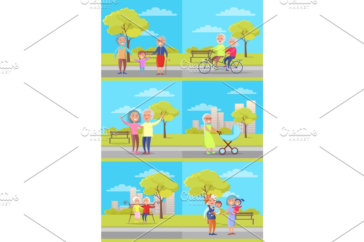 Set of Vector Posters with Grandparents and Kids in Objects - product preview 8