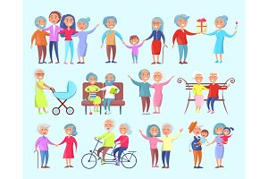 People of Different Age Isolated Illustration