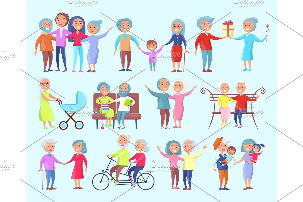 People of Different Age Isolated Illustration in Illustrations - product preview 8