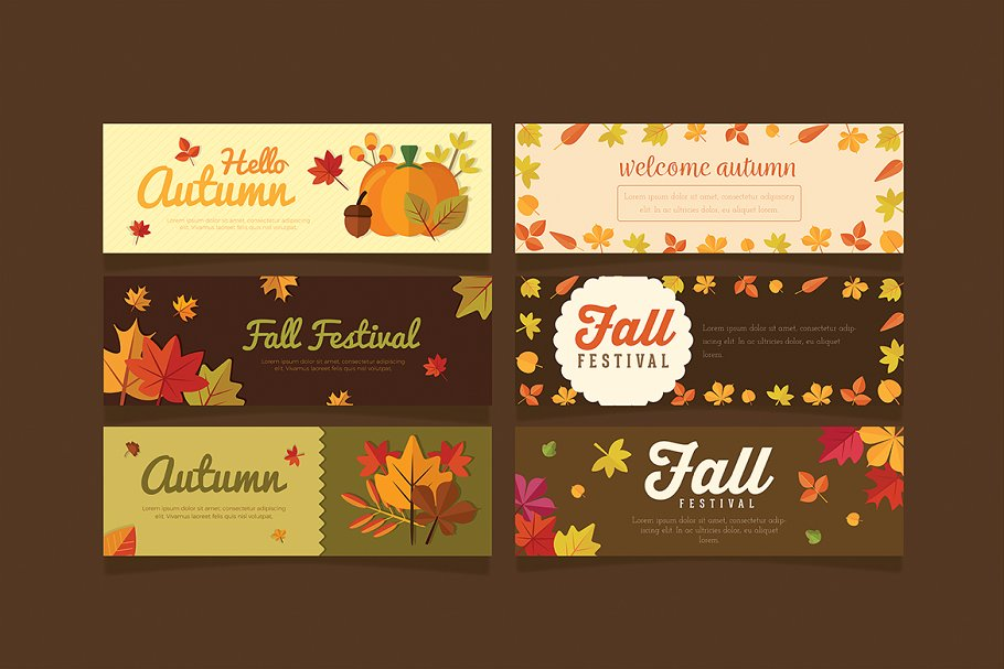 6 Autumn Banner in Illustrations - product preview 8