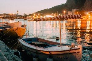 Old fishing boat at dusk