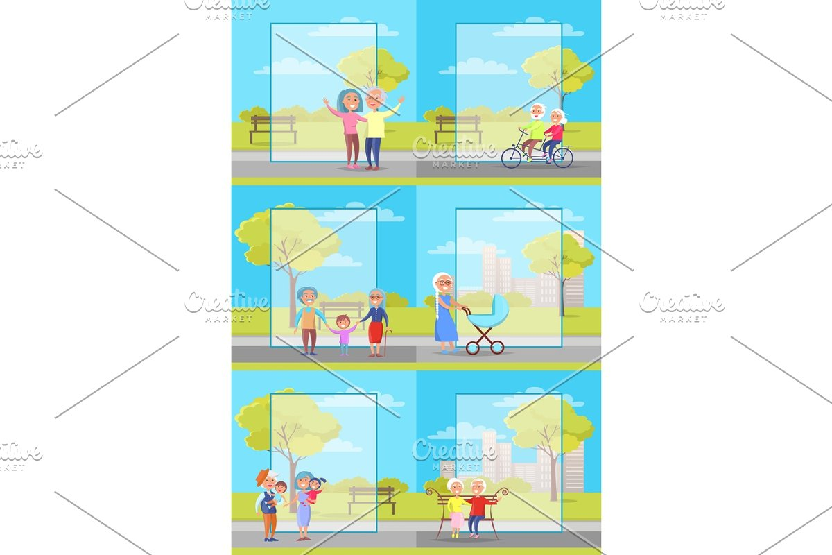 Older People Outside Collection of Illustrations in Illustrations - product preview 8