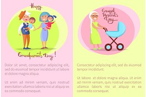 Happy Grandparents Day Senior Couplea and Kids