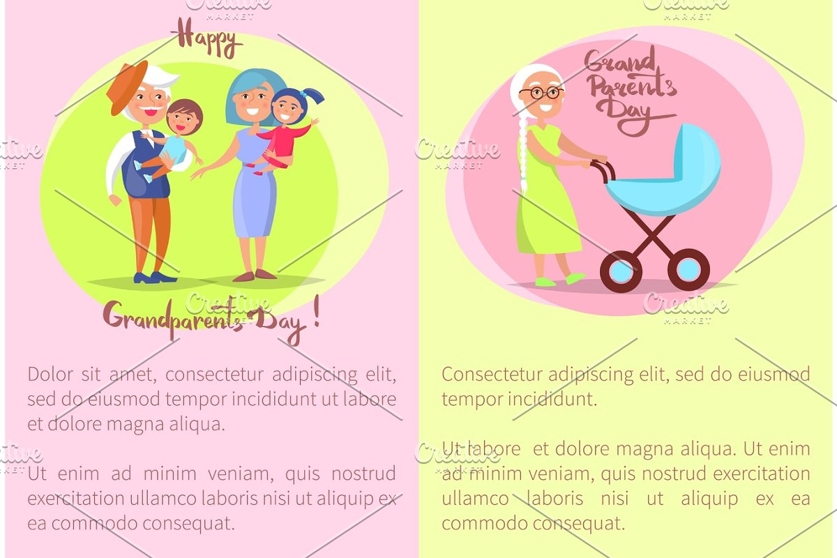 Happy Grandparents Day Senior Couplea and Kids in Objects - product preview 8