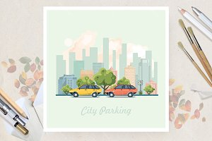 City parking. Flat vector style