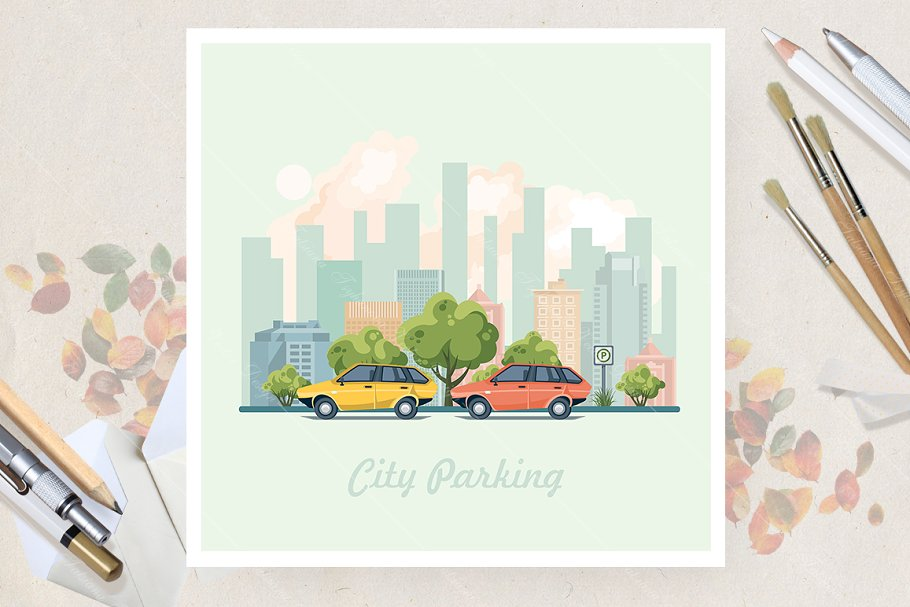 City parking. Flat vector style in Illustrations - product preview 8