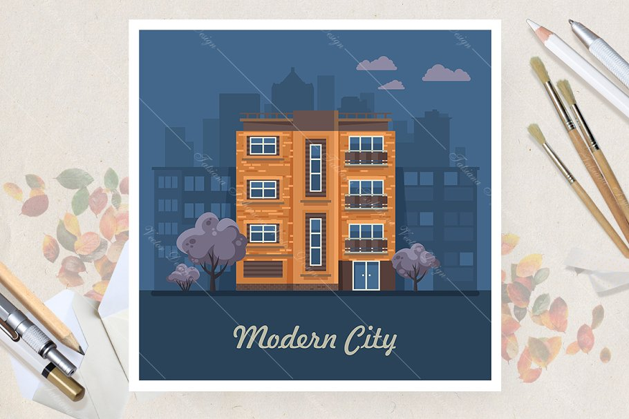 Night in the city. Flat vector style in Illustrations - product preview 8