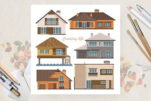 Set of houses. Flat vector style
