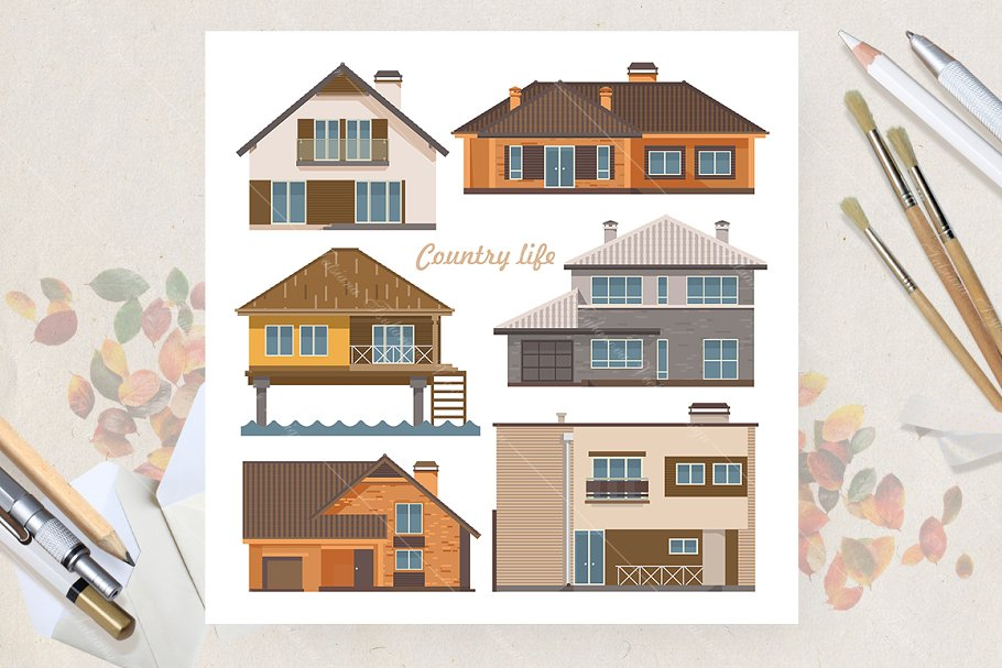 Set of houses. Flat vector style in Illustrations - product preview 8