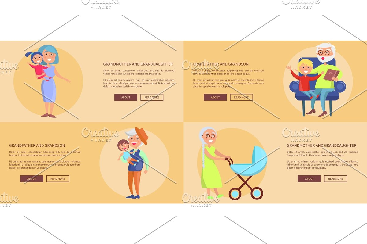 Grandparents Granddaughter and Grandson Posters in Objects - product preview 8