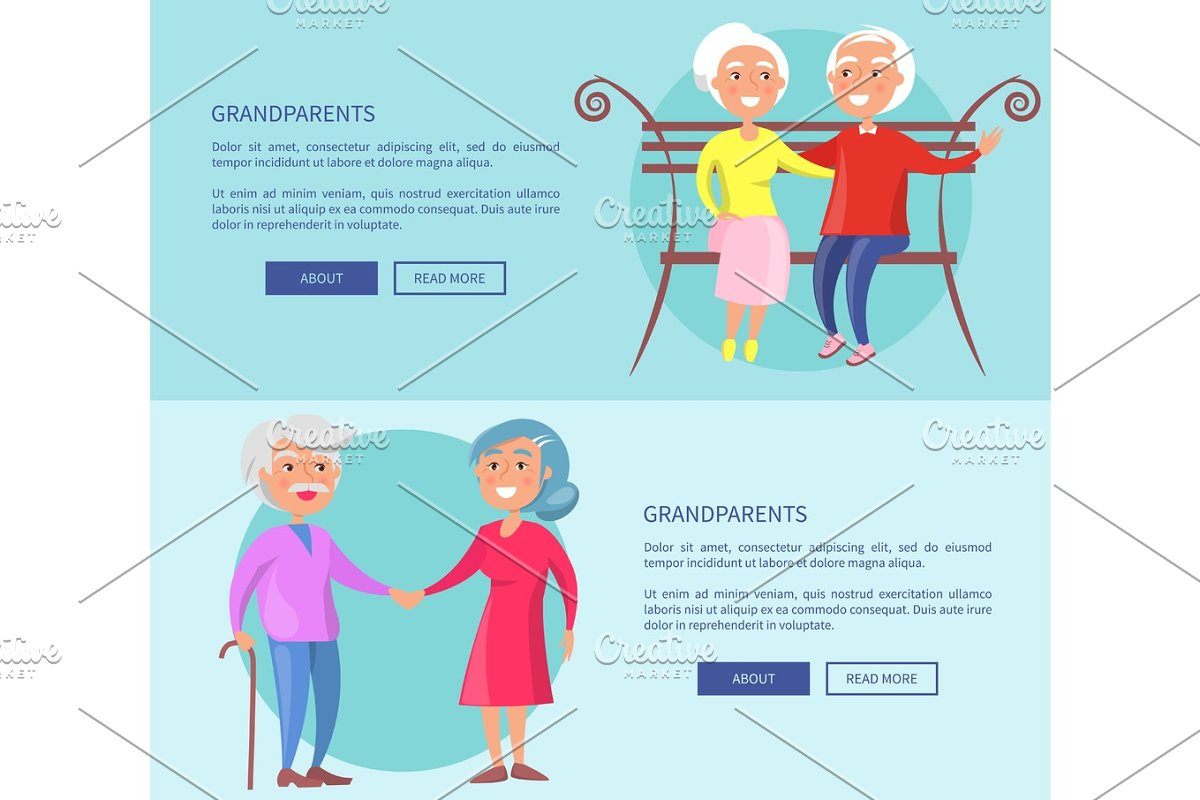 Grandparents Posters with Mature Couples Together in Objects - product preview 8