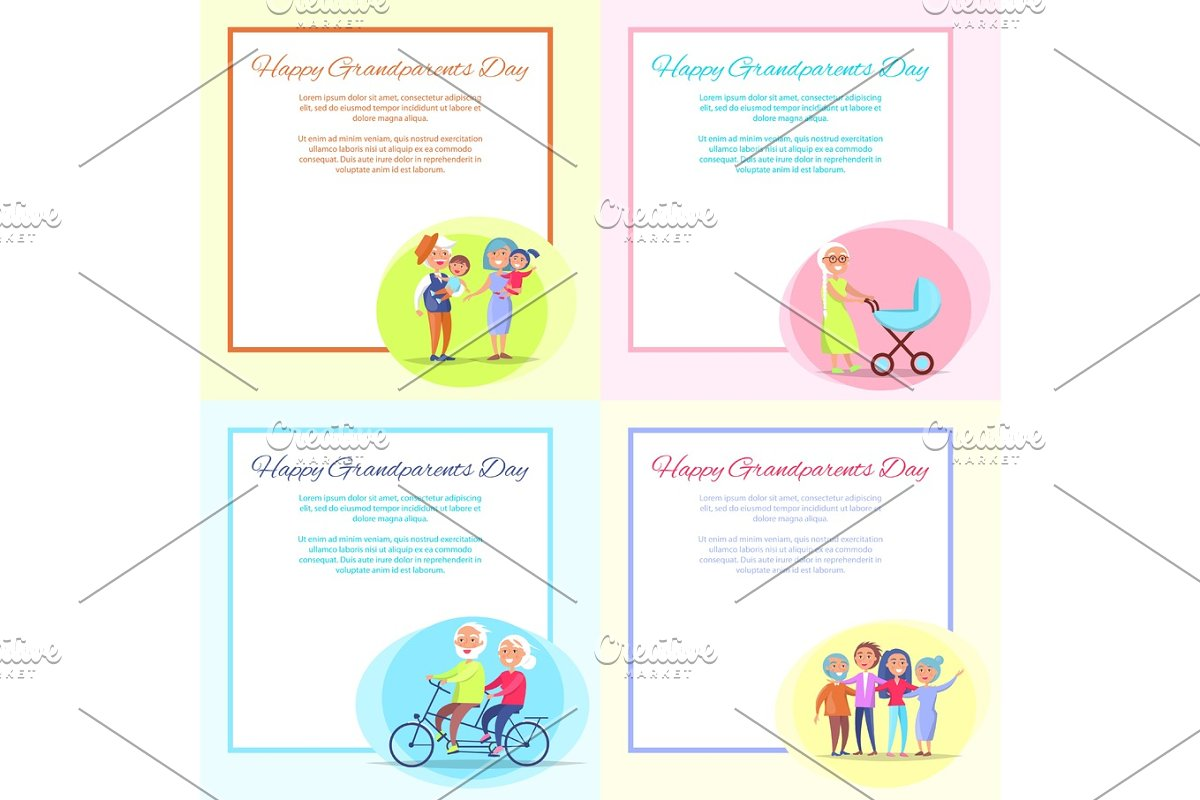 Happy Grandparents Day Posters Set Senior Couple in Objects - product preview 8