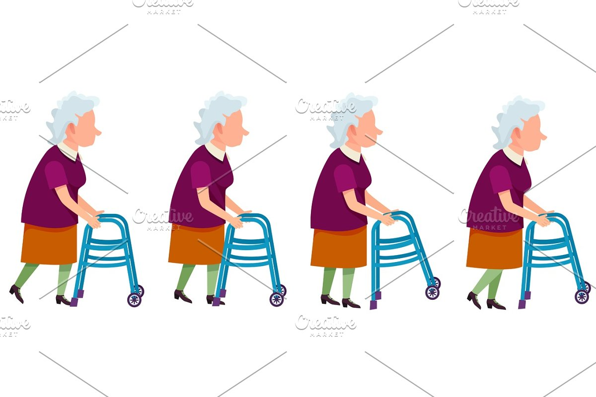 Set of Grandmother Characters Moving on Walkers in Illustrations - product preview 8