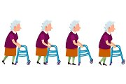 Set of Grandmother Characters Moving on Walkers