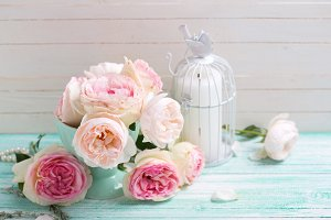 Shabby chic roses and candle