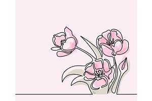 Drawing of beautiful tulips flower