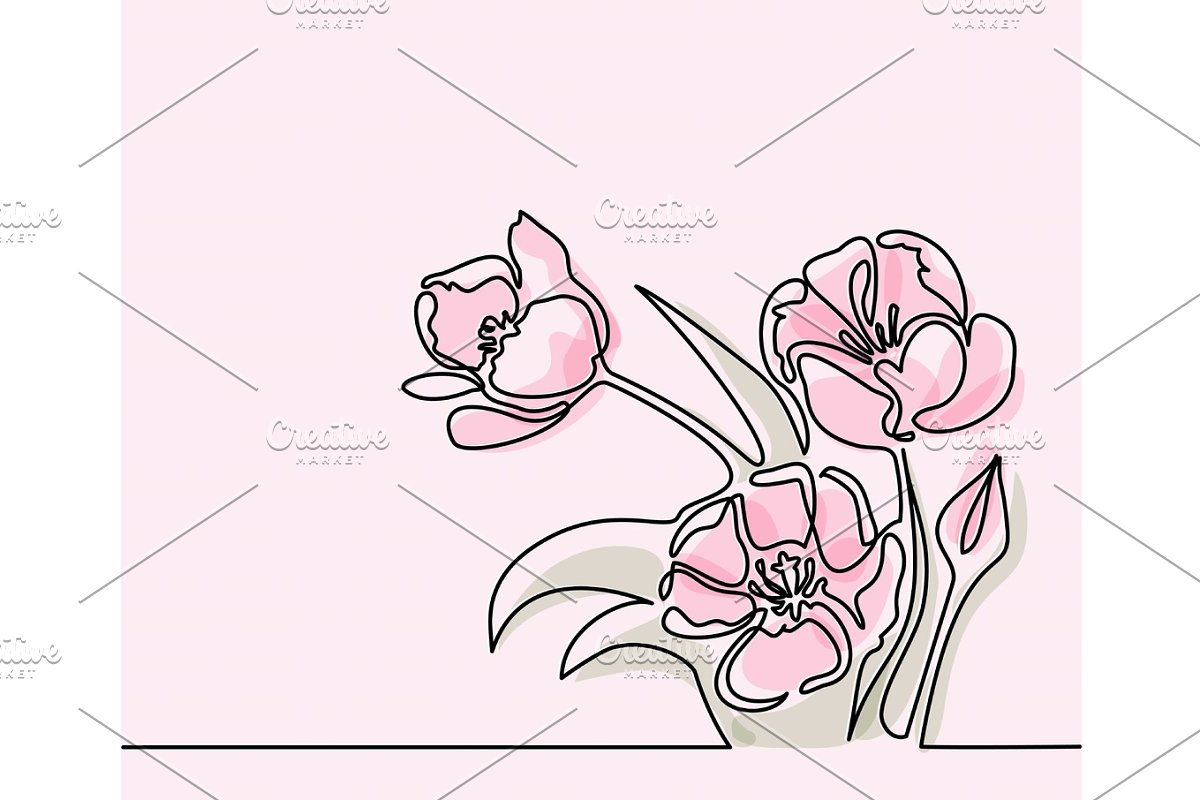 Drawing of beautiful tulips flower in Illustrations - product preview 8