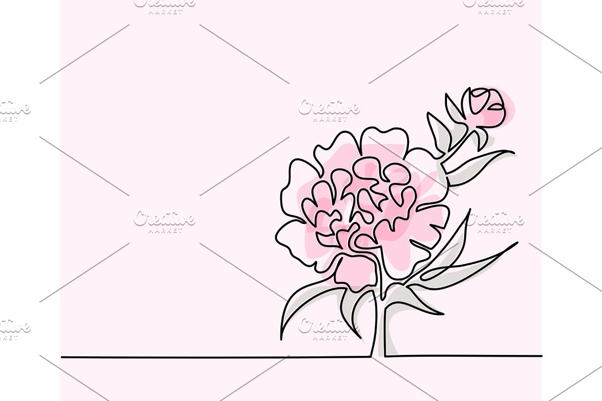 Drawing of beautiful flower in Illustrations - product preview 8
