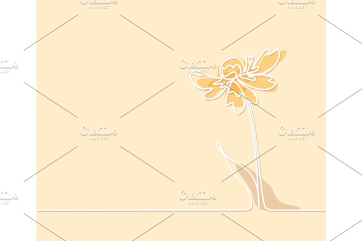 Drawing of beautiful flower with butterfly in Illustrations - product preview 8