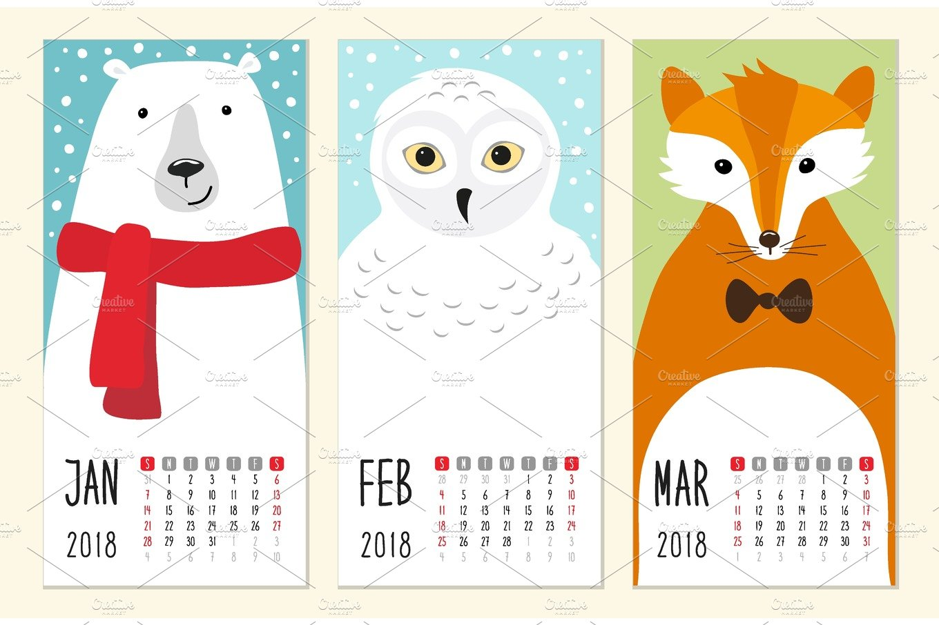 cute 2018 calendar pages with funny cartoon animals characters illustrations creative market