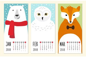 Cute 2018 calendar pages with funny cartoon animals characters