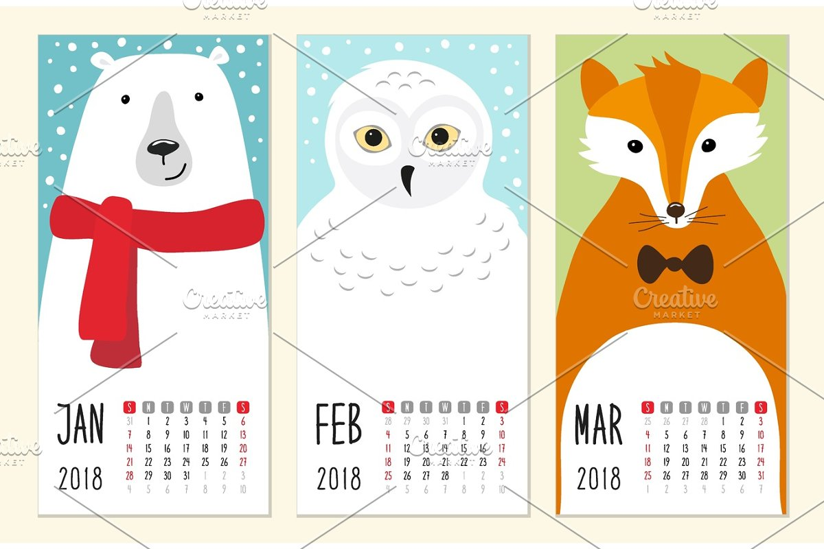 Cute 2018 calendar pages with funny cartoon animals characters in Illustrations - product preview 8