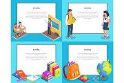 School 3D Illustrations Set with Various Icons