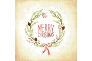 Cute Vintage Hand Drawn Christmas Holiday Floral Wreath