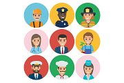 People of Different Professions Set of Round Icons
