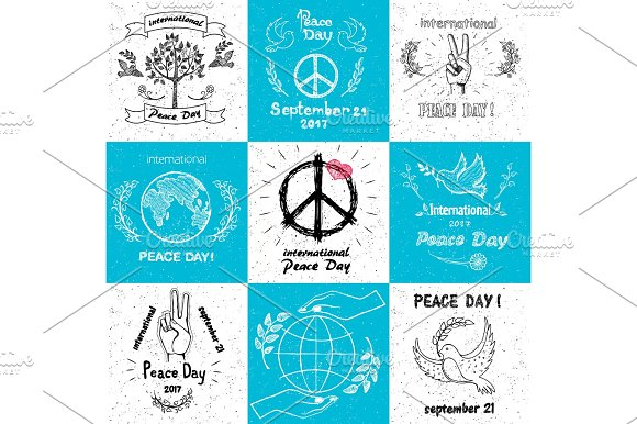 International Peace Day september 21 Set of Vector