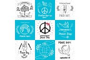 International Peace Day september 21 Set of Vector