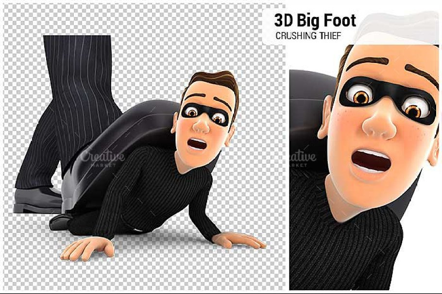 3D Big Foot Crushing Thief in Illustrations - product preview 8