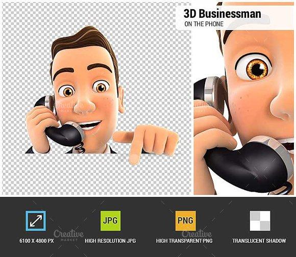 3D Businessman on Phone