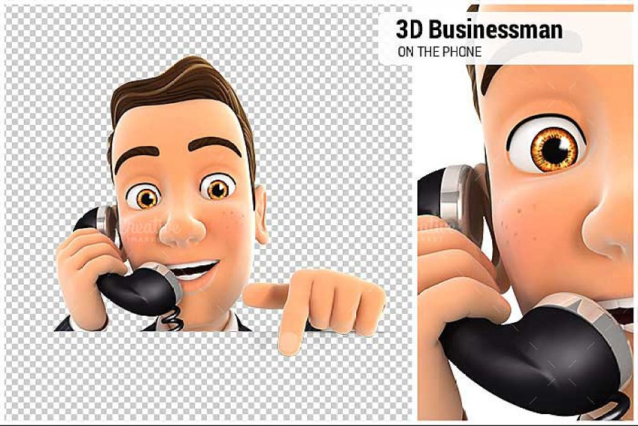 3D Businessman on Phone in Illustrations - product preview 8
