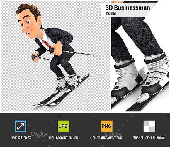 3D Businessman Skiing