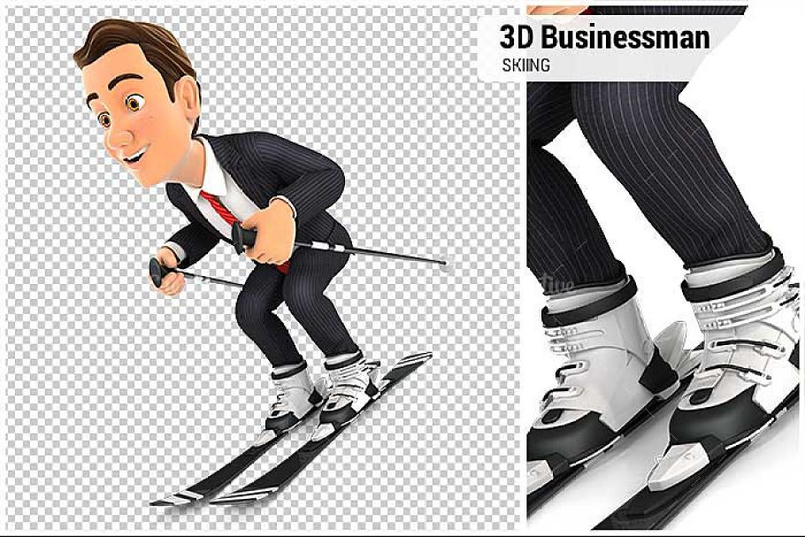 3D Businessman Skiing in Illustrations - product preview 8