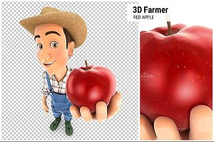 3D Farmer Holding Red Apple