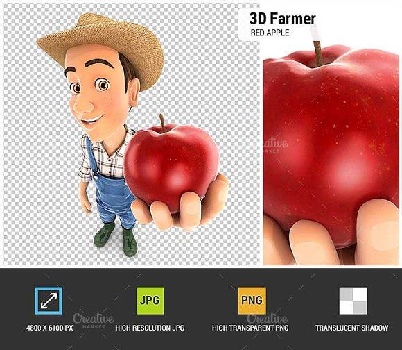 3D Farmer Holding Red Apple