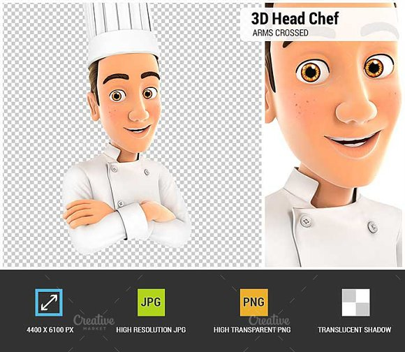 3D Head Chef with Arms Crossed in Illustrations