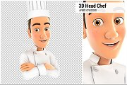 3D Head Chef with Arms Crossed