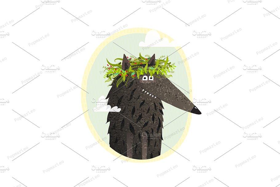 Wolf cute portrait with laurel.