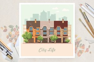 Eco city in flat vector design