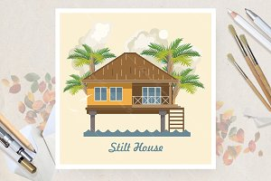 Stilt house in flat vector design