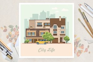 City center in flat vector design