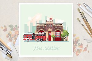 Fire station in flat vector design