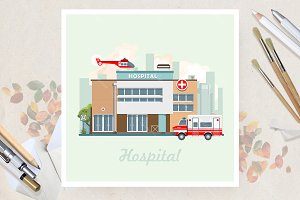 Hospital in flat vector design